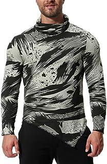 Sylar Camisetas Camisa De Manga Larga De Cuello Alto Estampado De Camuflaje Hombres De Invierno De Gran Tamaño