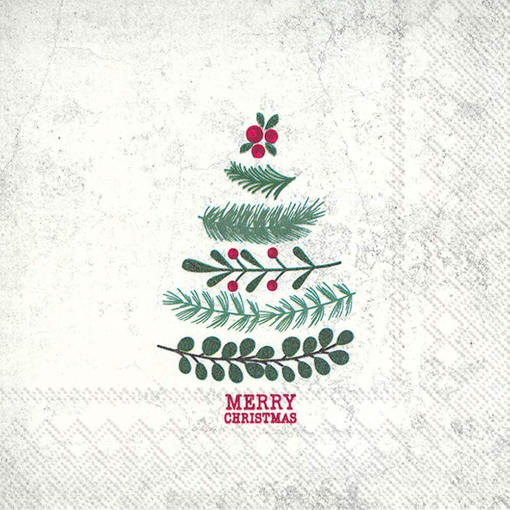 Boston International IHR 3-Ply Cocktail Beverage Paper Napkins, 5 x 5-Inches, Natural Christmas Tree
