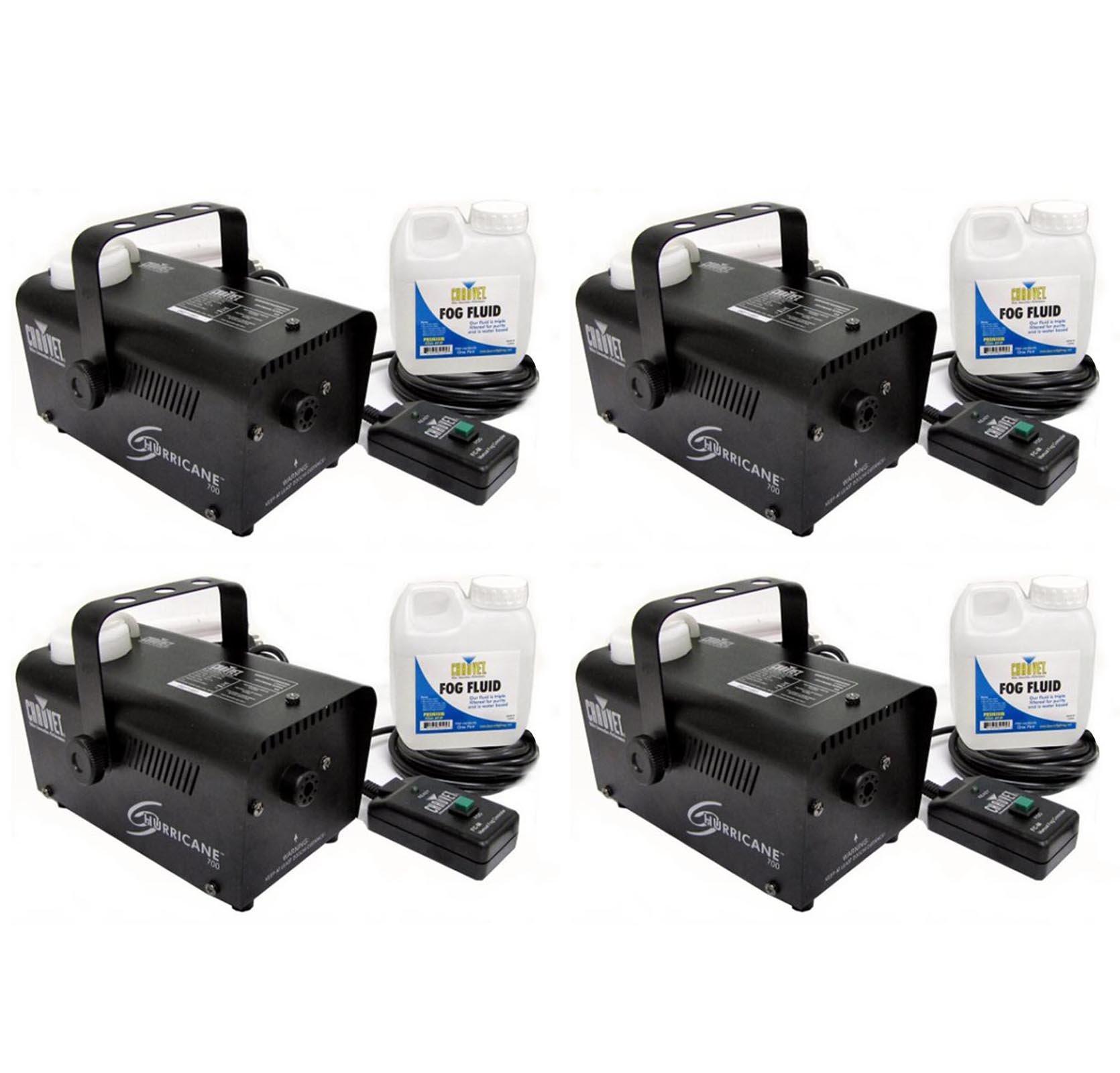 (4) Chauvet Halloween DJ Fog Smoke Machines w/ Fog Fluid & Wired Remote | H-700
