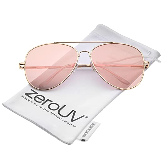 5496e7d9c640 Large Metal Rose Gold Frame Pink Mirror Flat Lens Aviator Sunglasses 60mm  (Gold Pink
