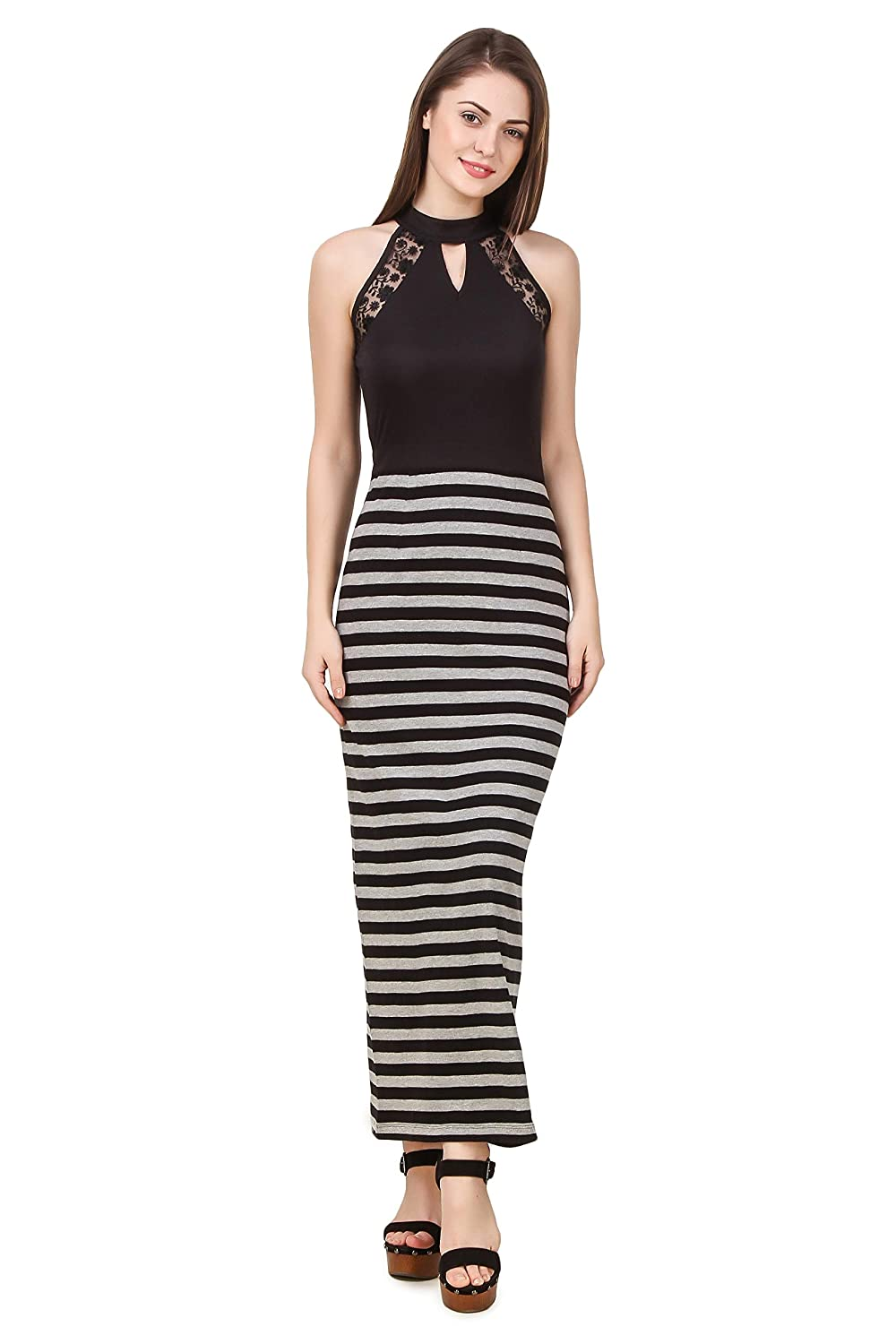 498c072c6 TEXCO Striped Lace Detailed Summer Maxi Women Dress: Amazon.in: Clothing &  Accessories