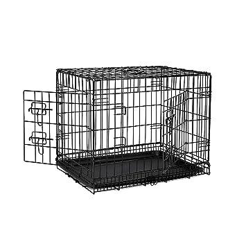 dibea DC00491, jaula de transporte para perros y animales pequeños, caja robusta hecha de alambre fuerte, plegable / con bisagras, 2 puertas, con ...