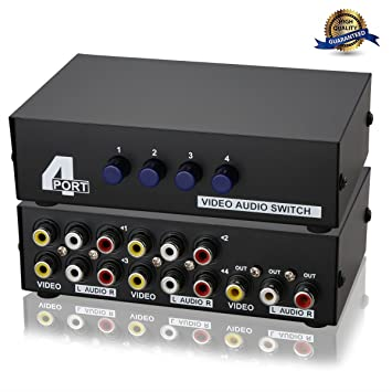 metal case mechanical 4 way av switch cvbs rca splitter 4 port switch adapter 4