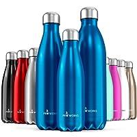 Proworks Edelstahl Trinkflasche | 24 Std. Kalt und 12 Std. Heiß - Premium Vakuum Wasserflasche - Perfekte Isolierflasche für Sport, Laufen, Fahrrad, Yoga, Wandern und Camping - 500ml / 750ml / 1 Liter