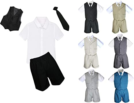 3pc Baby Toddler Kid Boy Wedding Party Suit Brown Pants Shirt Necktie Set SM-4T