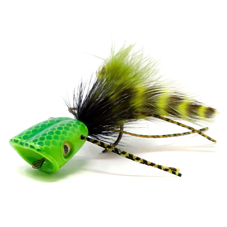 Flymen 釣り用 表面 誘導 ダブルバレル バス バグ ポッパー ボディ #6 Green Chatreuse B07KCR27ZV