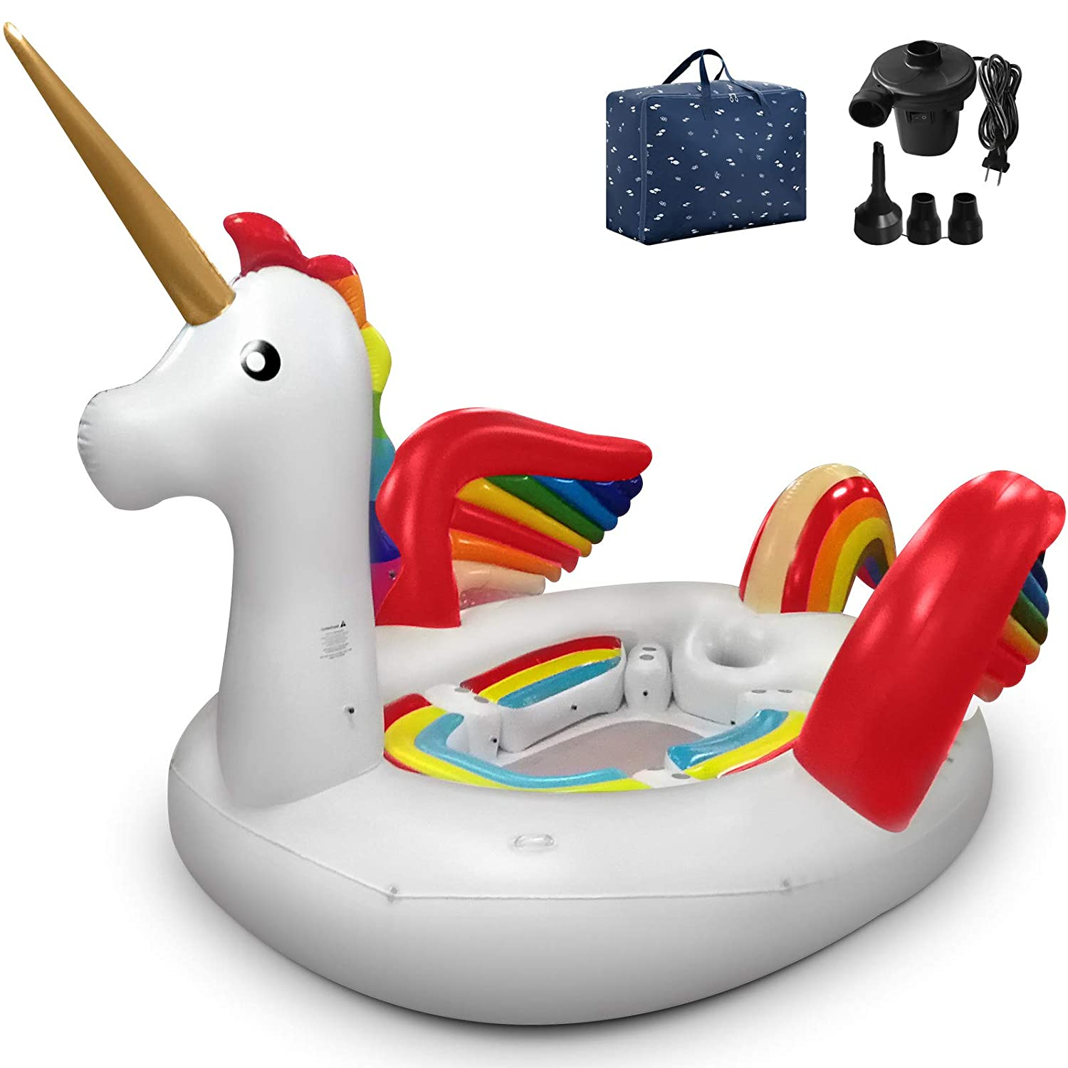 Popsport Unicorn Pool Float Party Bird Island Unicorn Float with Carrying Bag...
