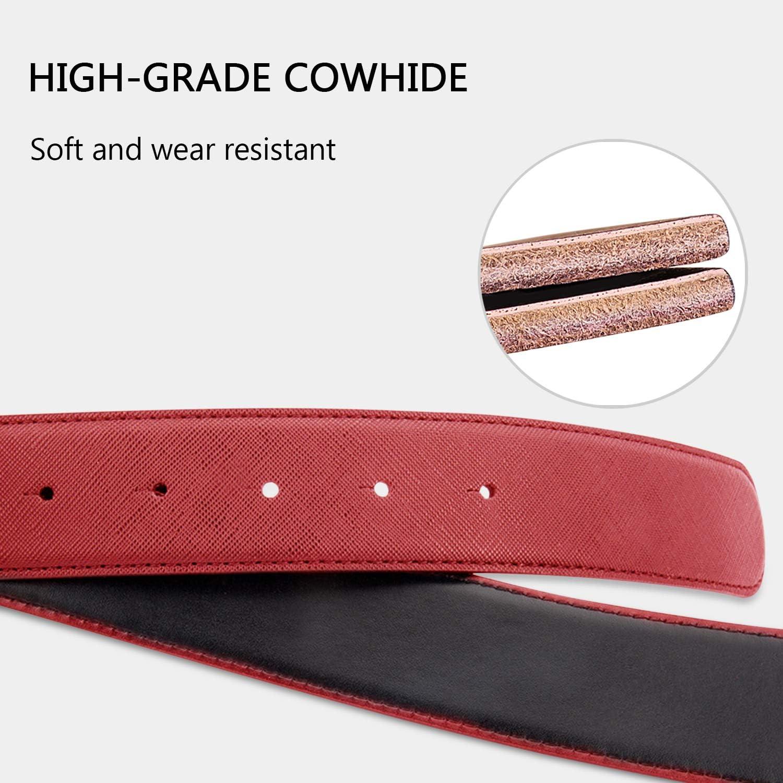 DORRISO Fashion Elegant Mens Genuine Leather Belts Waist Belt Cowhide Leather Belts Tiger head buckle for gift 105-120CM Belt