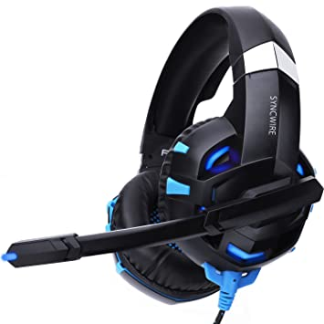 Syncwire Auriculares Gaming Cascos Gaming - Reducción del Ruido Auriculares para Juegos con Micrófono y luz