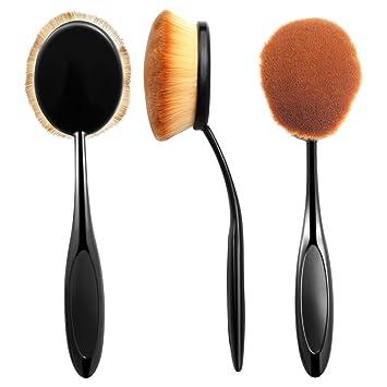 b242e0b3abaa Zodaca Large Oval Makeup Brush Toothbrush For Cosmetic Foundation Cream  Powder Makeup Tool, Black/Brown