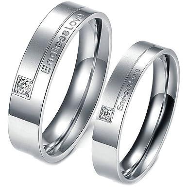 Amazon.com: daesar 2 pcs anillos mujer acero inoxidable amor ...