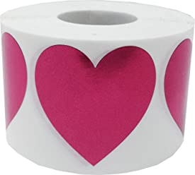 Metallic Rose Heart Stickers For Valentine's Day Crafting Scrapbooking 1 1/2 Inch 500 Adhesive Stickers