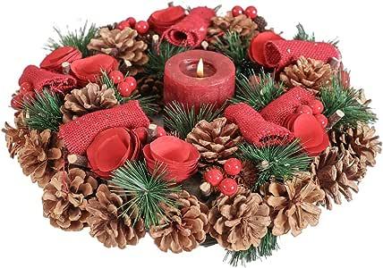 Mesa de comedor de Navidad Wreath portavelas centro de mesa W36cm ...