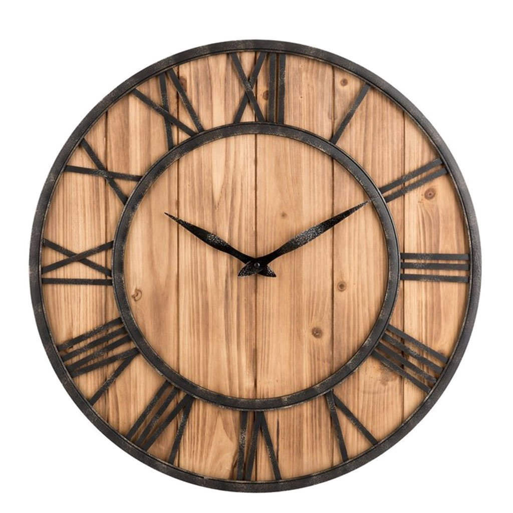 Amazon.com: Blesiya 40cm Fashion Round Wood Quiet Non Ticking Wall Clock Home Living Room Decor: Home & Kitchen