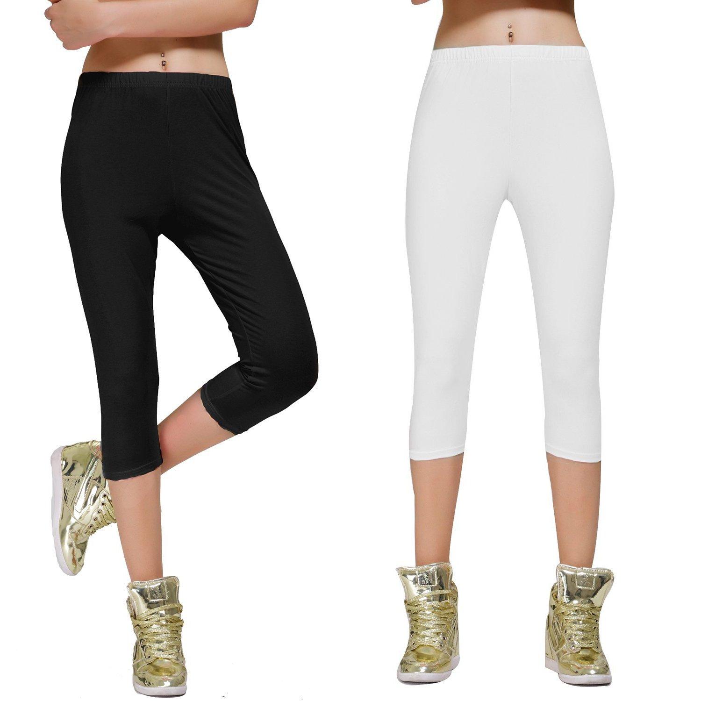 Stretch Cotton Capri Crop Leggings Tights (S, 2 Pk Black/White)