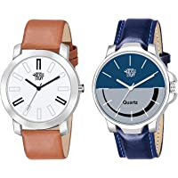 Swadesi Stuff Brown Blue Leather Strap Analogue Watch for Men - Combo of 2 Watches