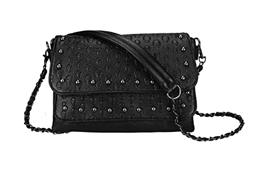 ea29200e3480d6 Women Classic Skull Rivet Purse Functional Multi Pockets Black Crossbody Bag  Multi Layers Shoulder bag-