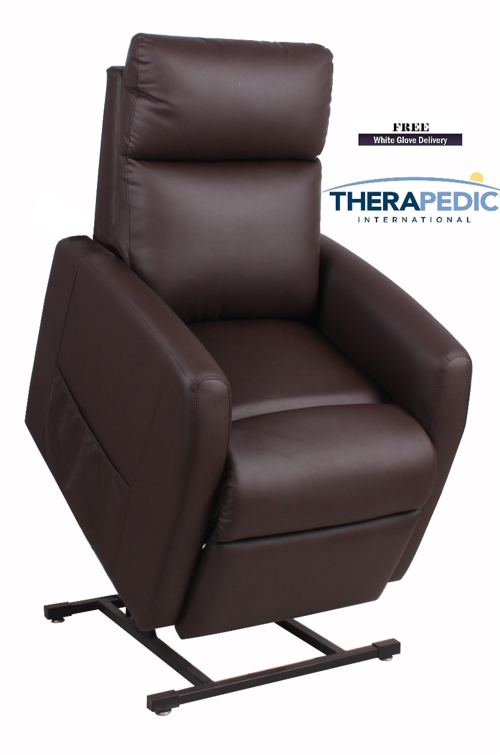 """THERAPEDIC Lift Chair Recliners, The """"Vista"""" - Dark Chocolate ''PU Leather'' - ''Live Smart'' Performance Fabric - TRUSTED BRAND NAME"""