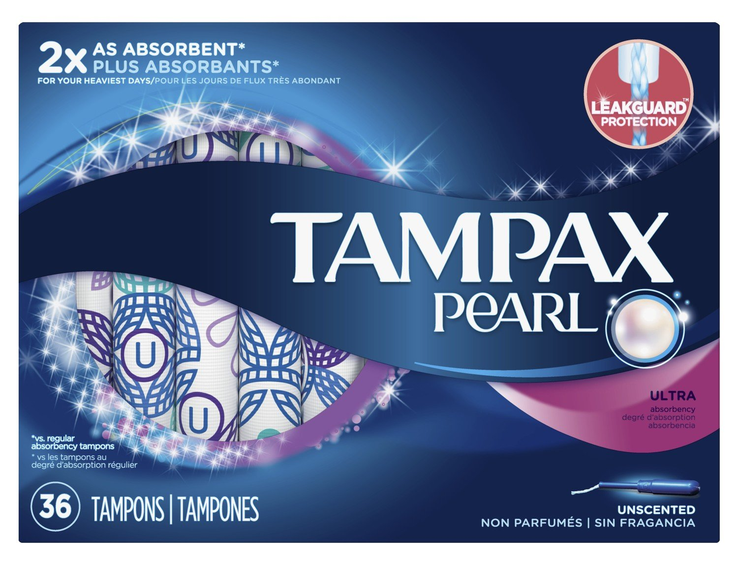 Tampax Tampons Pearl Ultra 36 Count Unscented (6 Pack)