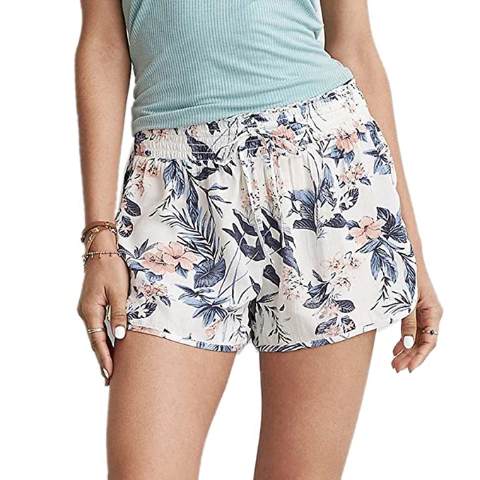 621ea09c627b NJDF-women Floral Print Elastic High Waist Shorts Women Summer Loose Thin Beach  Shorts Boho Summer Shorts at Amazon Women s Clothing store