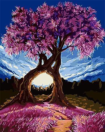Captaincrafts New Malen Nach Zahlen 16x20 Für Erwachsene Kinder Leinwand Millennium Liebe Lila Exotische Bäume Blauer Himmel Frameless