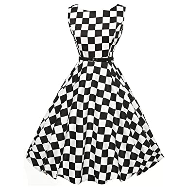 Womens Dresses,Moonuy Girl Vintage Music Note Plaid Floral Sleeveless Prom Swing Evening Party Beach