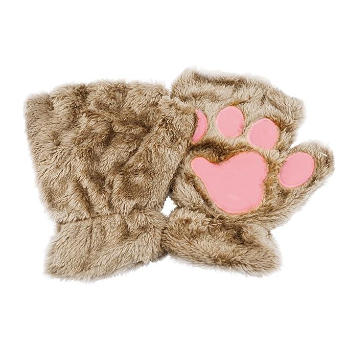 Tinksky Manoplas de felpa de invierno Guantes sin dedos cortos Garra de gato lindo Pata del perro Guantes de medio dedo Regalo de cumpleaños de ...