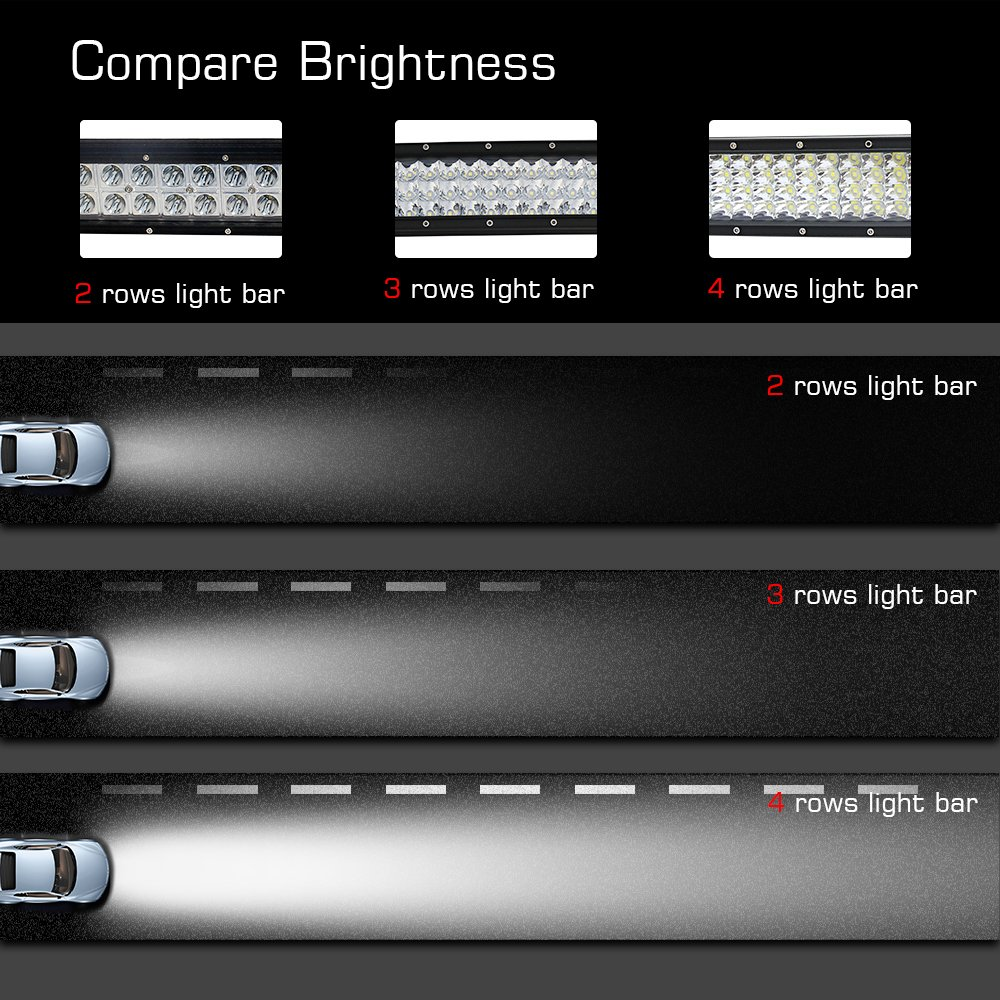 Led Curved Light Bar 42 inch Quad Row Off-Road Flood Spot Combo Led Fog Lights IP68 744W Waterproof for Off-Road Vehicle Boat 4x4 Cabin UTE Truck etc Colight