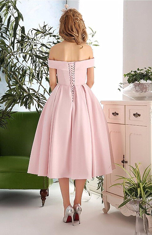 Lafee Bridal Women\'s Off Shoulder Prom Dresses Tea Length Cocktail ...