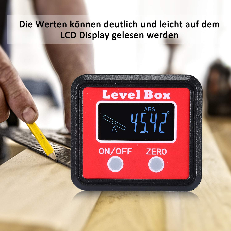 Batterie enthalten Digitaler LCD Winkelmesser Neigungsmesser Winkelsucher Winkelmessger/ät Inklinometer Level Box mit Magnetfu/ß