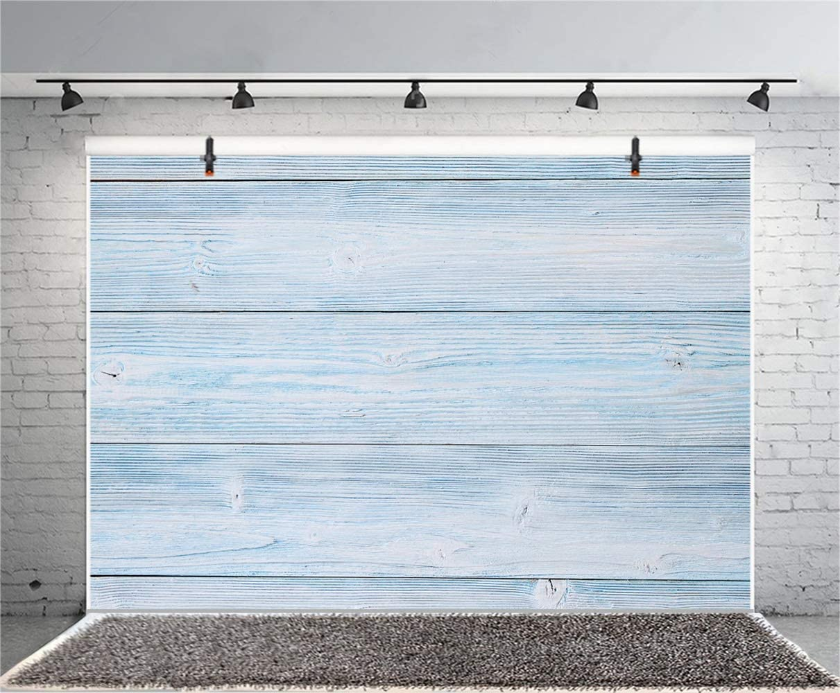 Polyester 8x6ft Grunge Faded Blue Lateral-Cut Wood Texture Plank Photography Background Weathered Wooden Board Backdrop Children Adult Pets Artistic Portrait Shoot Wallpaper Studio
