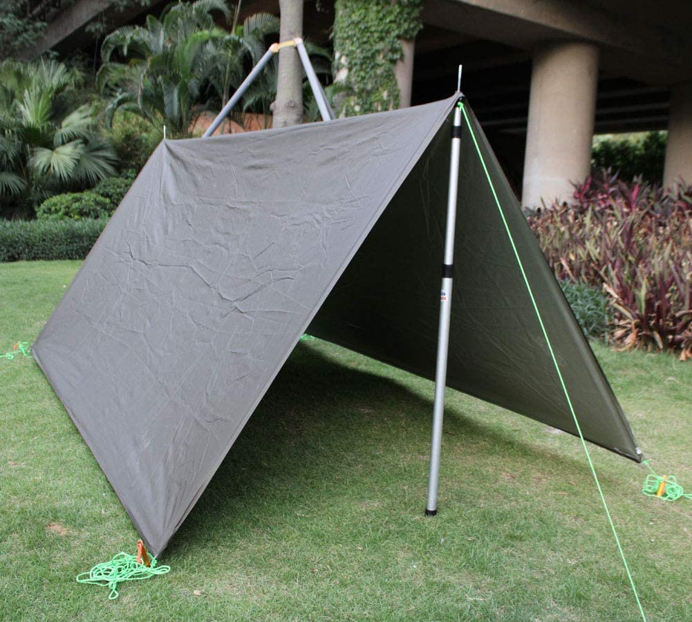 RV Car /& Motorcycle Camping Camping Telescopic Tarp Poles Set of Two Adjustable Poles Tent Fly Strong Aluminum 230CM with Zipper Bag Shelter Awning