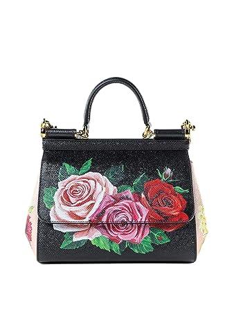 cc1ae4b08f Amazon.com  Dolce E Gabbana Women s Bb6003ak293hnx46 Black Leather Shoulder  Bag  BlackArc