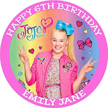 Image Unavailable Not Available For Color JoJo Siwa Birthday Edible Frosting 8quot Round Cake Topper