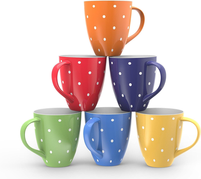 Blue Coffee Mug Set Set of 6 Large-sized 16 Ounce Ceramic Coffee Mugs Restaurant Coffee Mugs