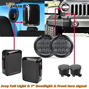 Vplus 105 W linterna frontal 7 Inchs Jeep Wrangler Led Faros delanteros + humo lente LED ...