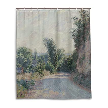 Shower Curtain Custom Fabric Set 60x72 Inch Monet Mountain Road Near Giverny Waterproof Polyester For
