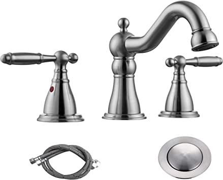 Rkf Two Handle Widespread Bathroom Sink Faucet With Pop Up Drain With Overflow And Faucet Supply Hoses Brushed Nickel Wf013 4 Bn Amazon Com