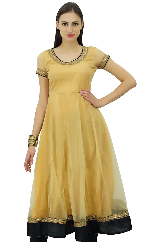Bimba Flaired Net Anarkali Kleid Solide Kurta Kurti Indische Tunika Kleidung BIM-E470A