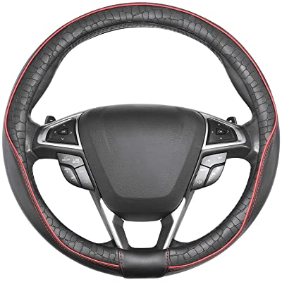 SEG Direct Car Steering Wheel Cover Universal Standard-Size 14 1/2''-15'' Leather with Man-Made Crocodile Design Black and Red: Automotive