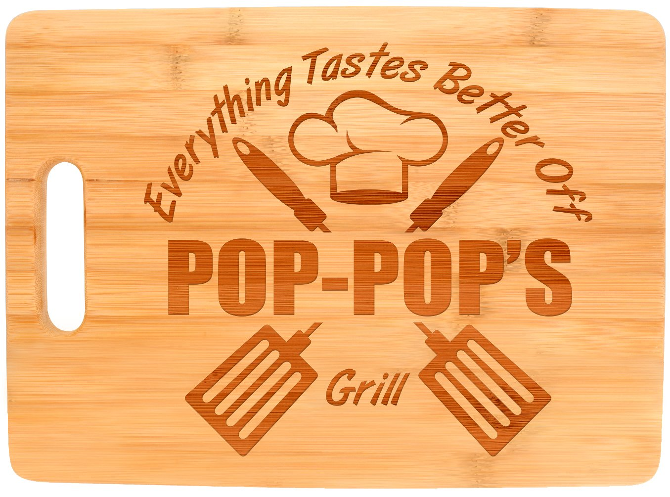 Laser Engraved Cutting Board Everything Tastes Better Off Pop-Pop's Grill Gifts for Grandpa Grilling Gifts for Chefs Pop-Pop Birthday Gift Big Rectangle Bamboo Cutting Board