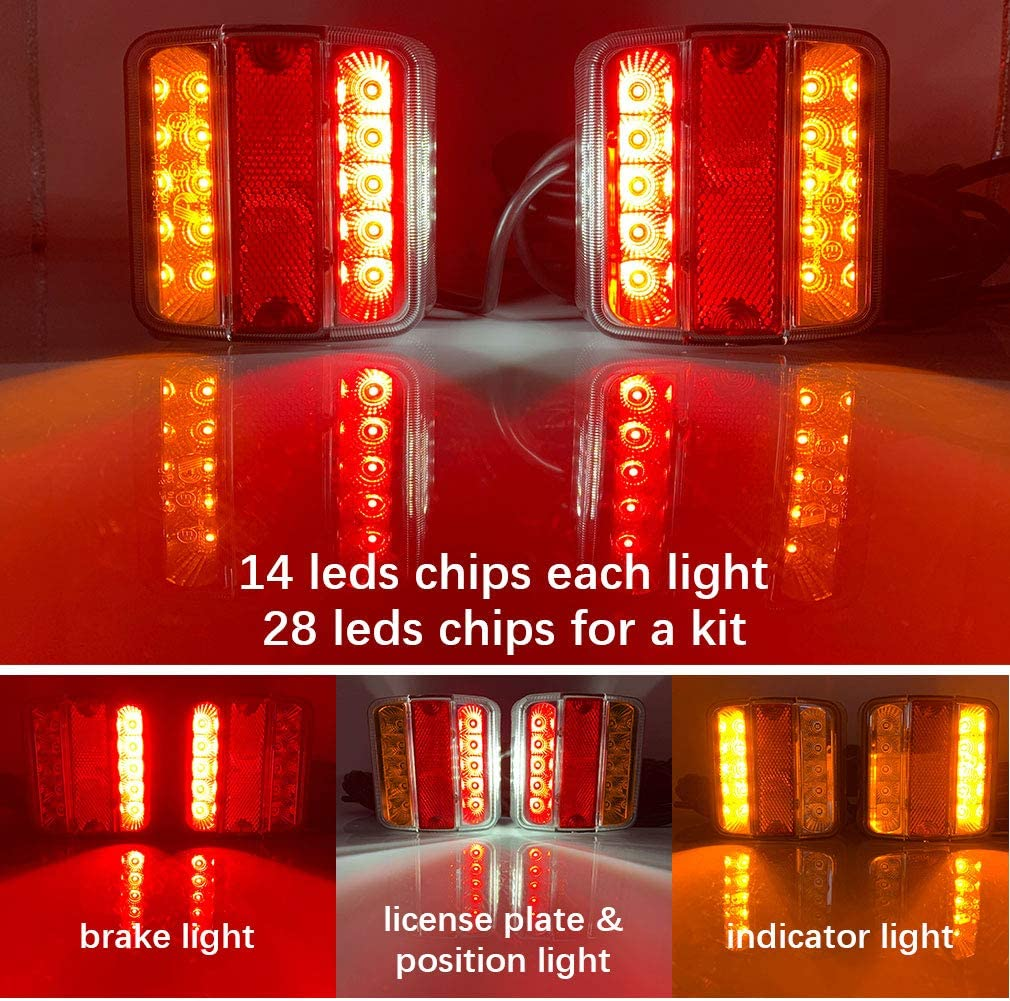 Hawkeye LED 12//24V Magneten Anh/änger Beleuchtung R/ücklicht R/ückleuchten Kit mit 7,5m Kabel 7-poligem Stecker Bernstein /& rot- LED, Karton
