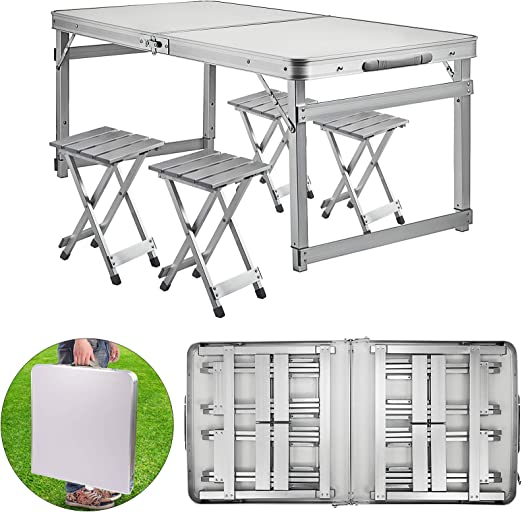 PORTABLE ALUMINIUM FOLDING CAMPING TABLE AND CHAIRS PICNIC SET WIT 4x BENCH SEAT