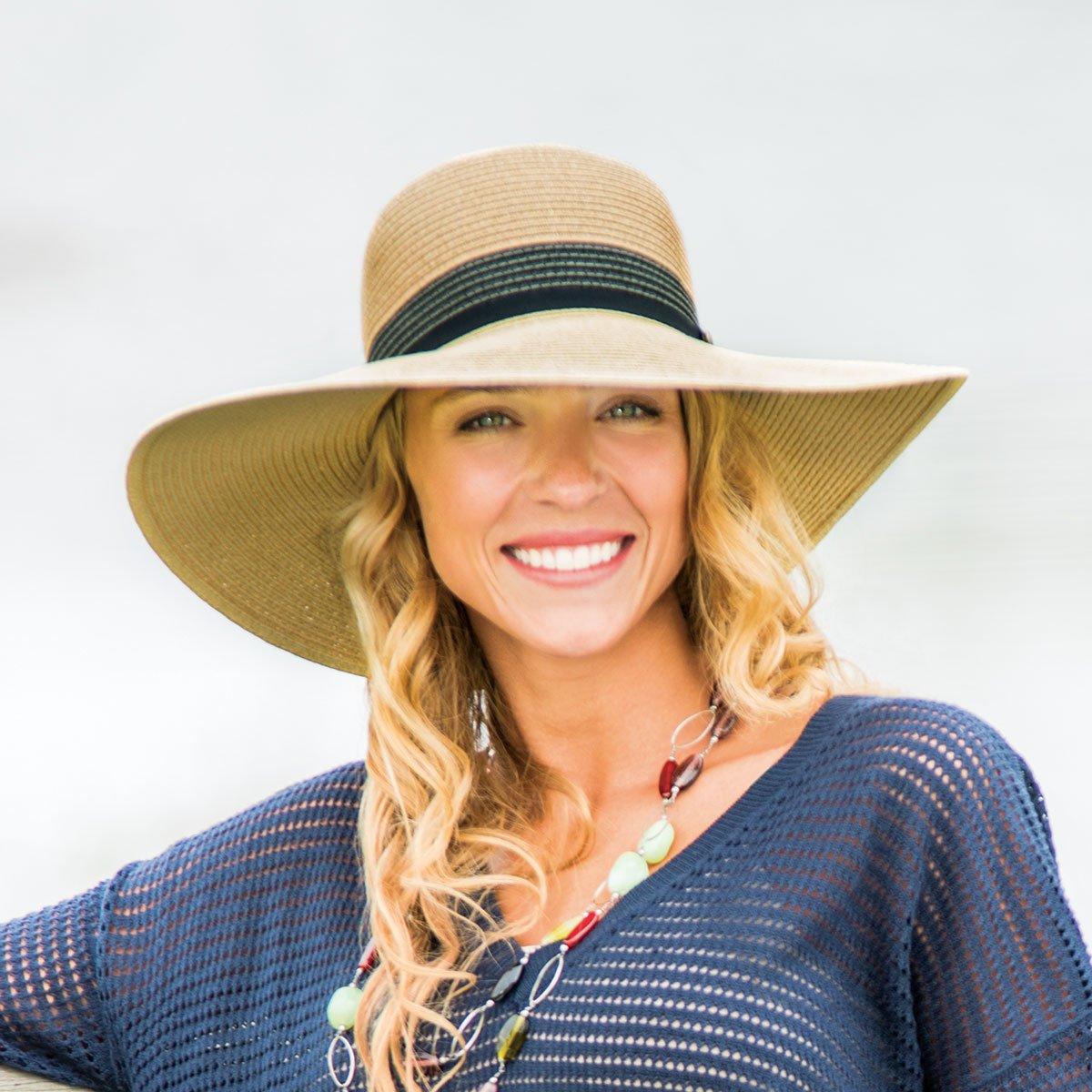 dffbf02cf91 Womens Wallaroo UV St Tropez Sun Hat - UPF50+ Sun Protection (Adjustable    Packable) (Natural Combo)  Amazon.co.uk  Clothing