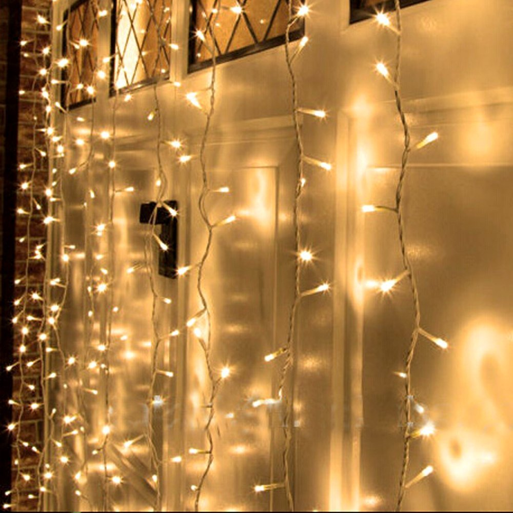Amazon Kohree 300 Led Curtain Icicle Lights Remote For Christmas Home Balcony Holiday Festivals Wedding Party Decorations