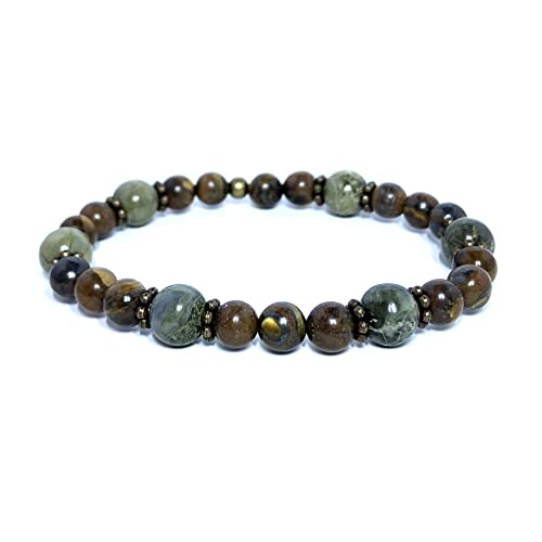 Amazon com: Brecciated Jasper 8mm and Tiger Iron 6mm Gemstone