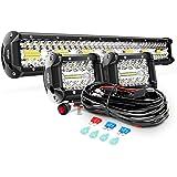 Nilight ZH412 Bar Set, 20 Inch 420W Triple Row Spot Flood Combo Work Driving Lamp, 2Pcs 4 Inch 60W Cube LED Pods Lights…