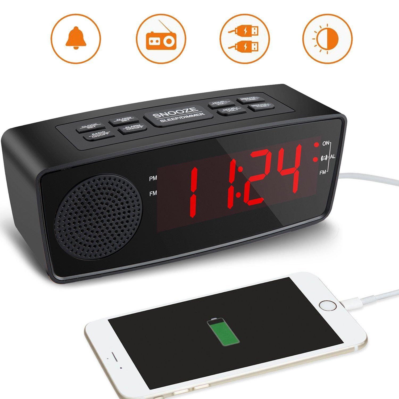 Clock Radio, FM Digital Radio Alarm Clock USB Charging Port Bedroom, Kitchen, Hotel, Table, Desk