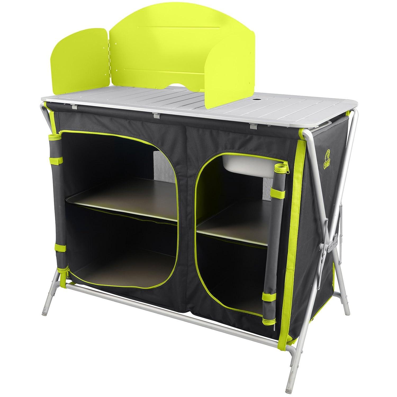 Berger Campingküche Spüle schwarz Alu Küchenbox Campingschrank faltbar Sideboard