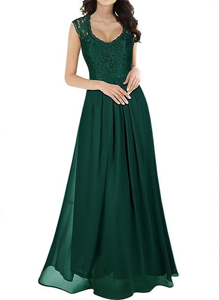 MIUSOL Vestidos Para Mujer Vintage Elegantes Sin Manga Mujer Noche Fiesta Largo (Verde,small
